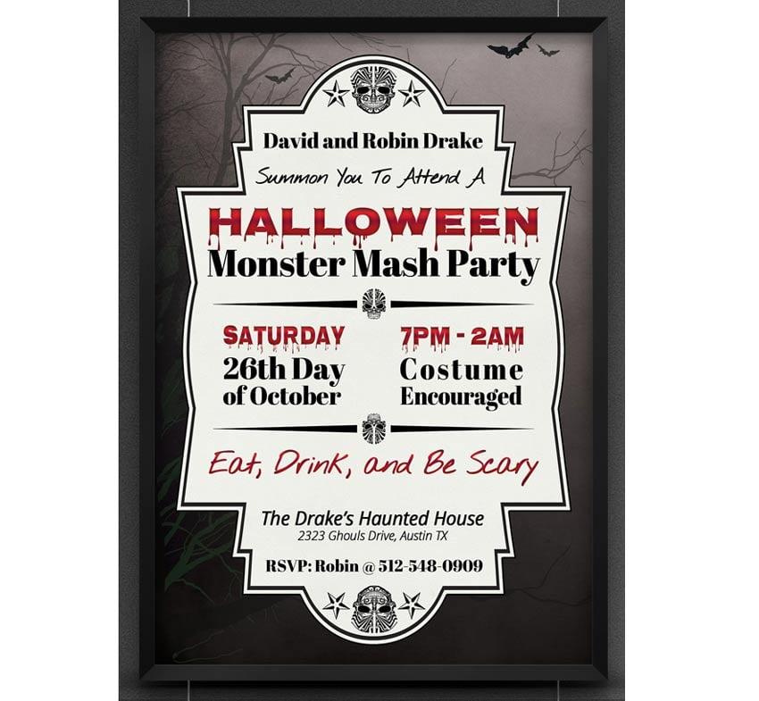 Halloween Monster Mash Party Invite