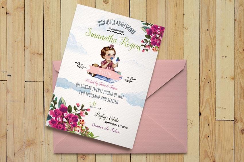 DIY Watercolor Baby Shower Invitation