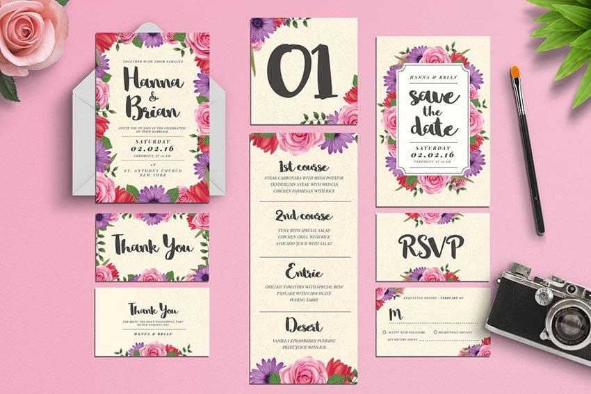Watercolor Floral Wedding Invitation Suite