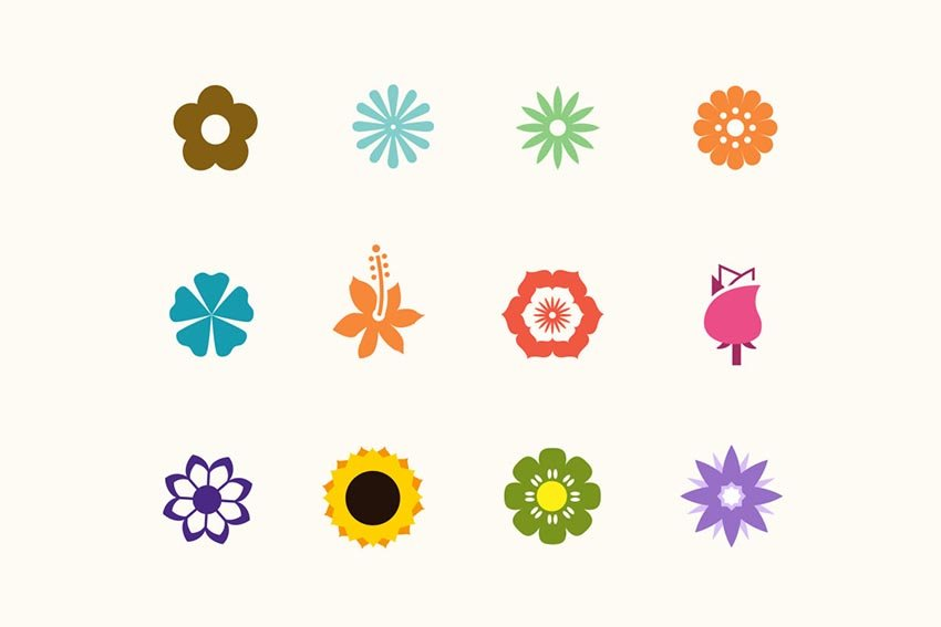 12 Contemporary Flower Icons