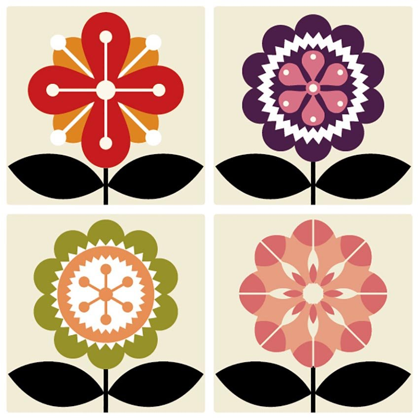 Flat Vector Flowers from Graphic River
