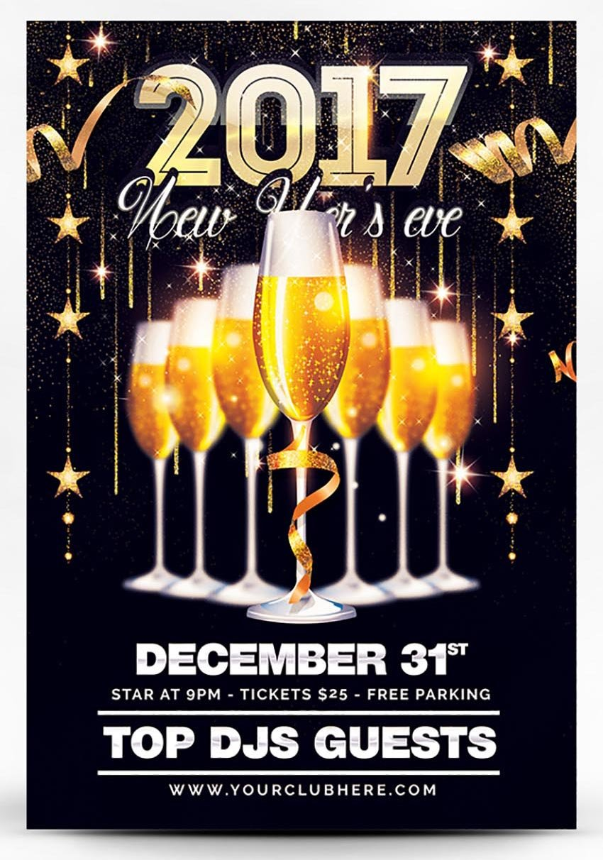 2017 Champagne New Year Party Flyer