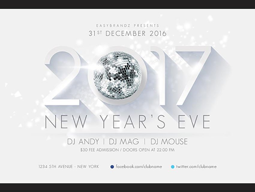 Mirror Ball 2017 New Years Flyer Template