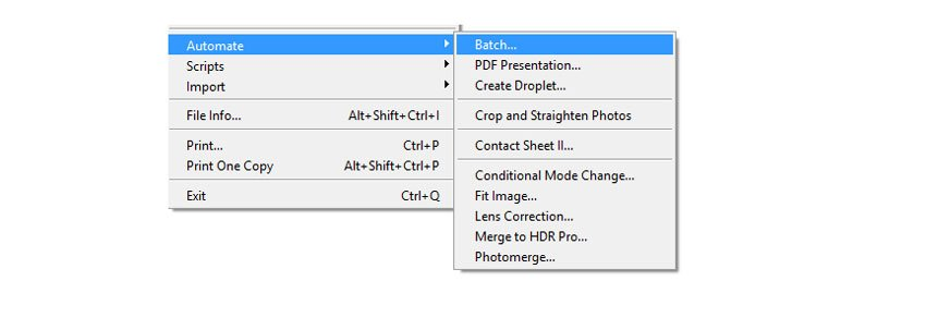 Acess Photoshops File Automate Batch to Resize Images