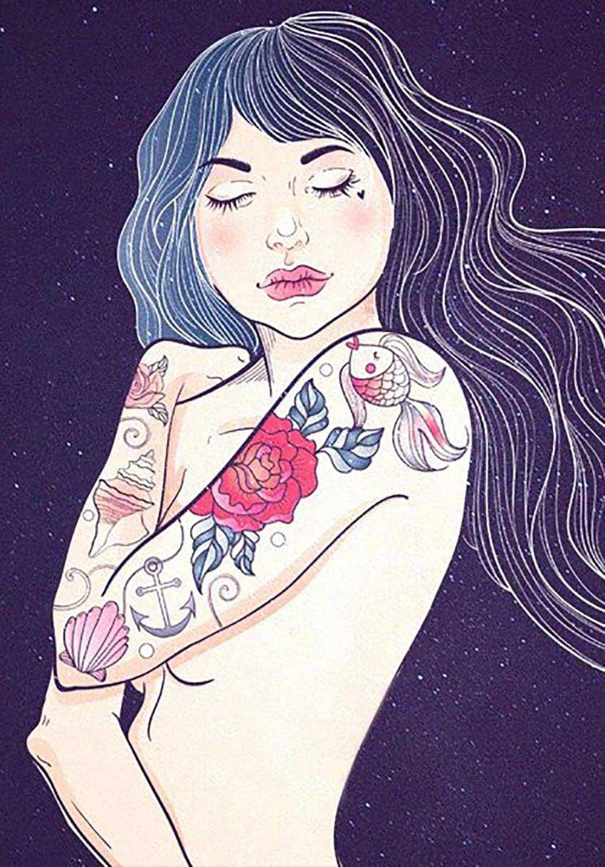 Punk Woman with Tattoo Illustration by Ann Fedenko