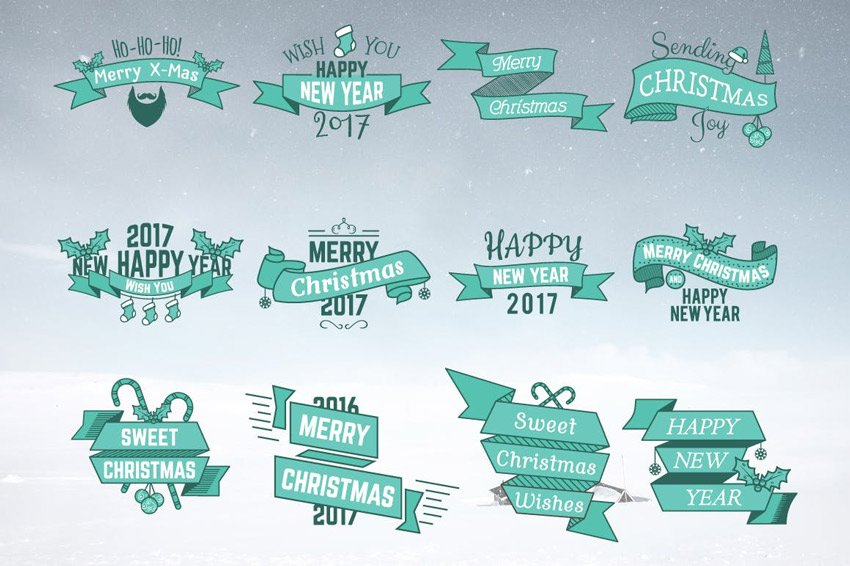 Christmas  New Year Labels  Badges