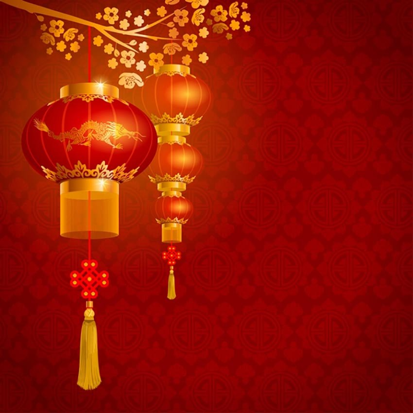 Red Background Chinese Lanterns