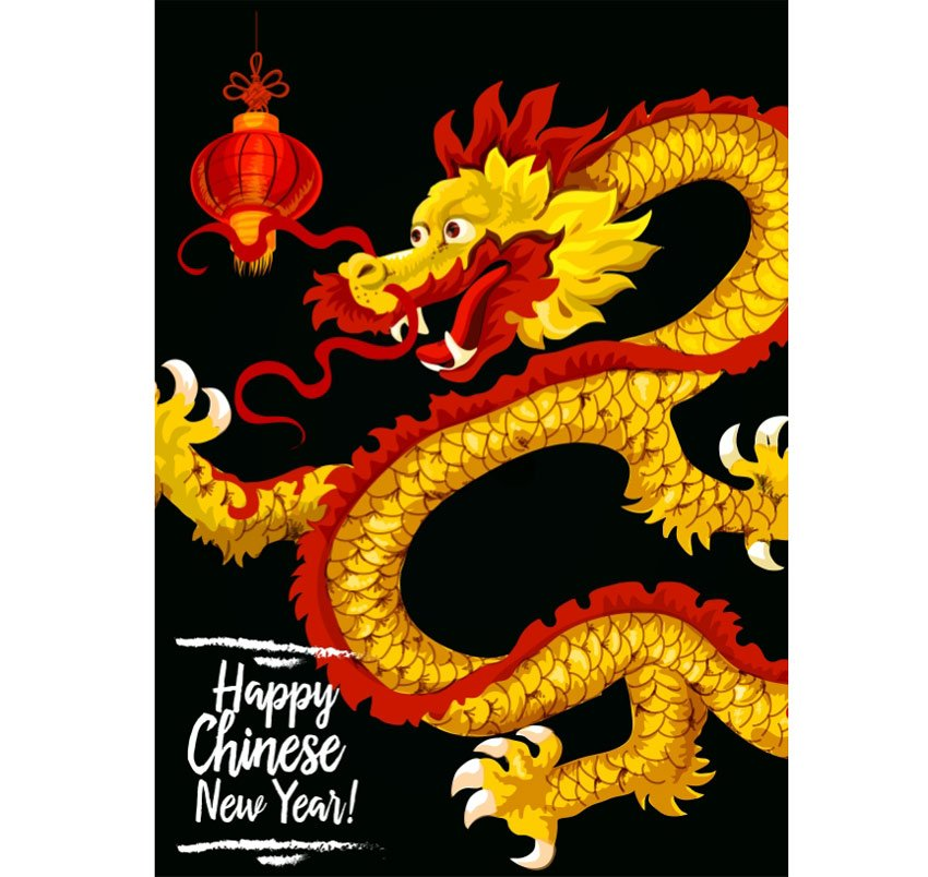 Chinese New Year Gold Dragon Greeting Card
