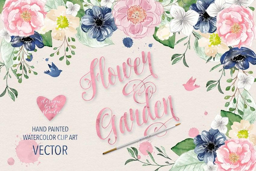 Vector Watercolor Color Flowers