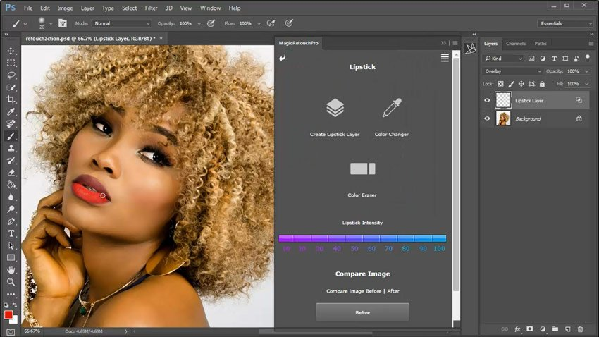 Painting Lip Color with Photoshop Actions