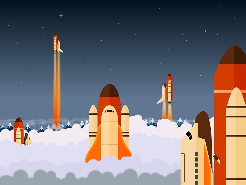Space Shuttle Vector Illustration by Paulius Tvaranavicius