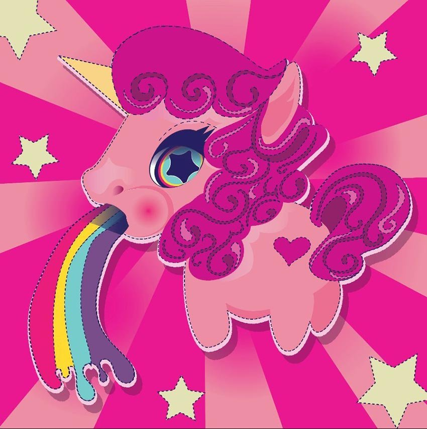 Pink Rainbow Unicorn by Missy B