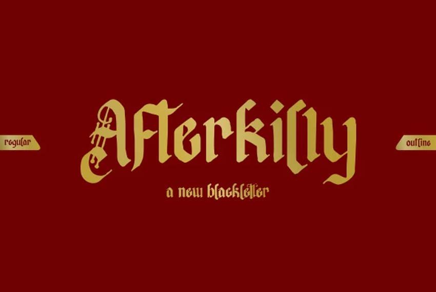 Afterkilly Black Letter Tattoo Script Font