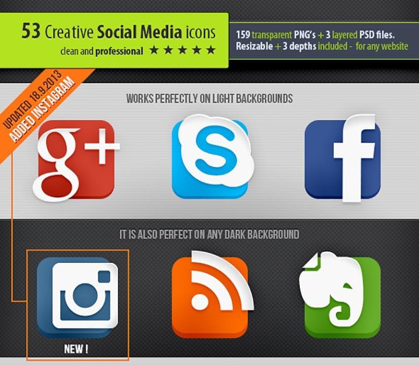 53 Creative Social Media Icons
