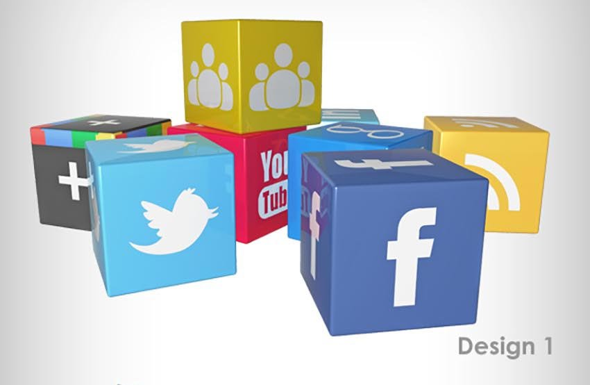 3D Social Media Icons Concept
