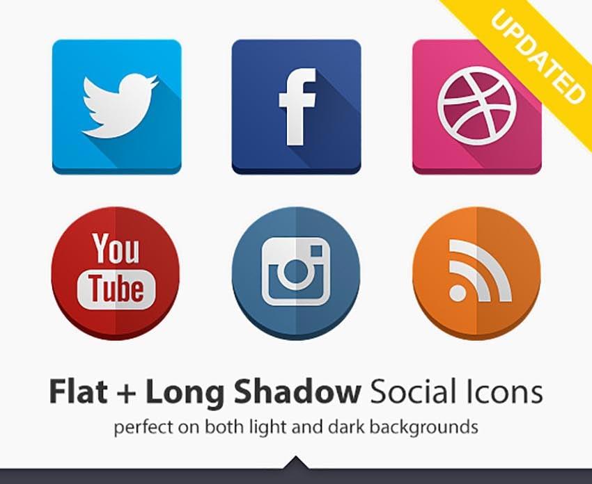 160 Social Icons Flat and Long Shadow Bundle