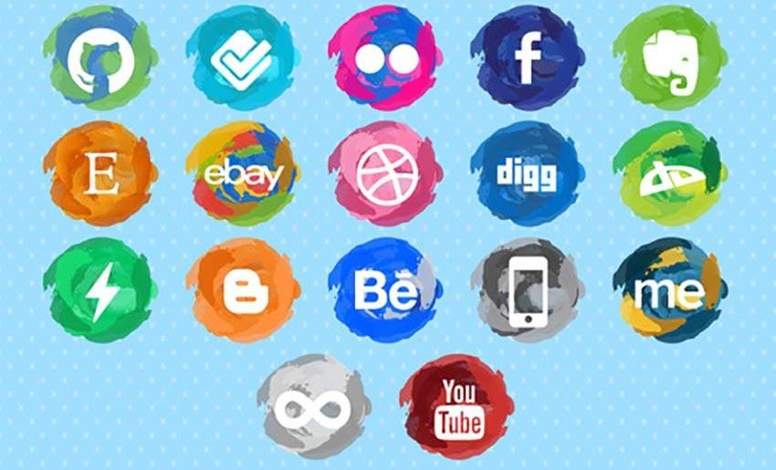 Paint Strokes Social Media Icons