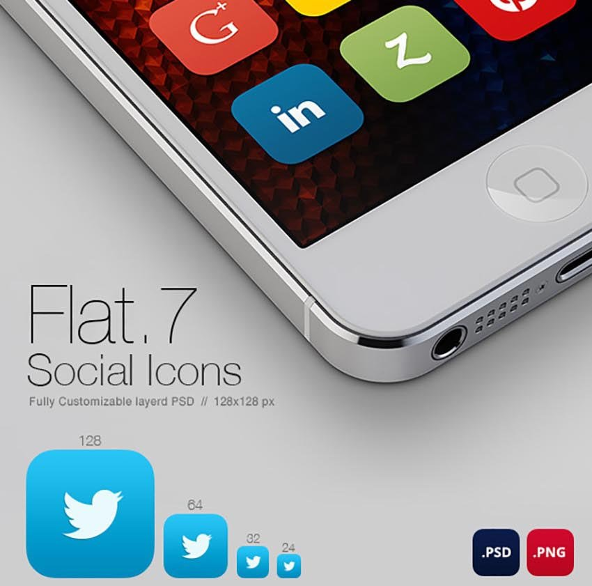 Flat7 - 75 Social Media Icons