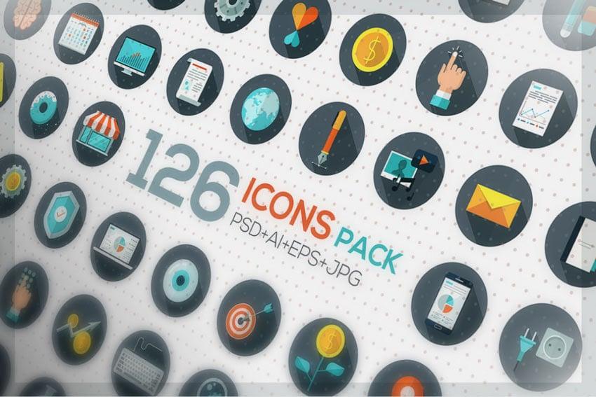 126 Flat Designed Icons