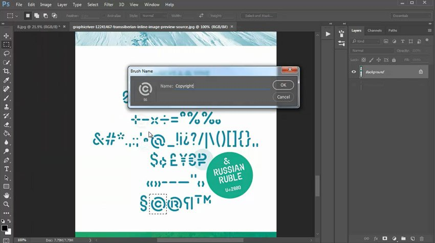 Create a Photoshop Brush from a Font Glyph