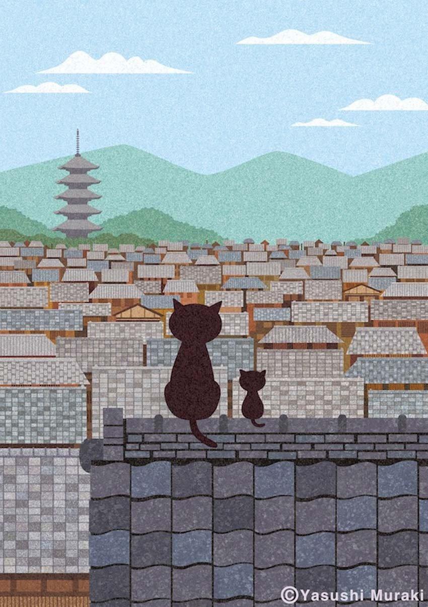 Cat and Town Art by Yasushi Muraki