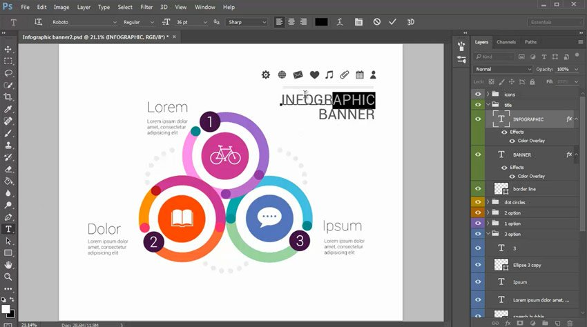 Change Infographic Titles with the Type Tool
