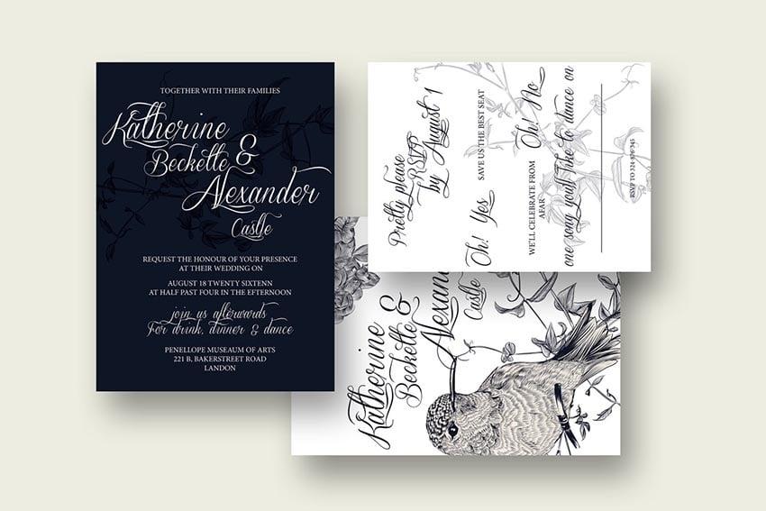 DIY Birdy Wedding Invitation  RSVP