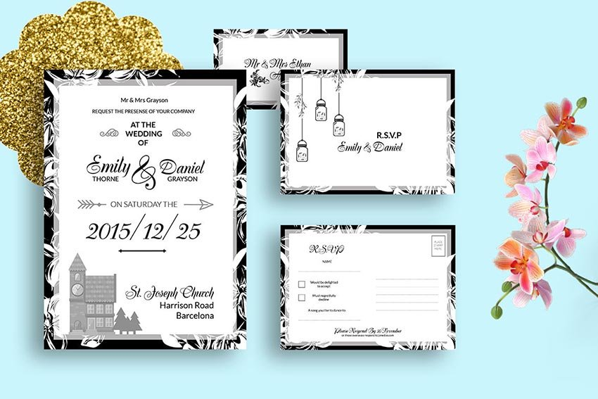 DIY Black  White Wedding Invitation PSD Template