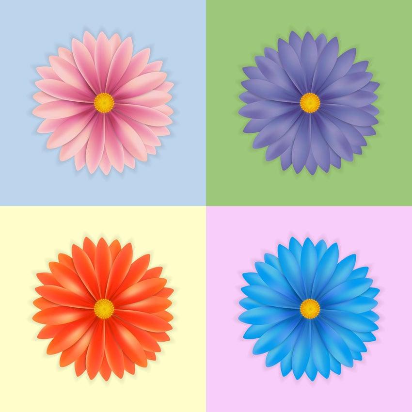 Gradient Mesh Flowers by Fabienne