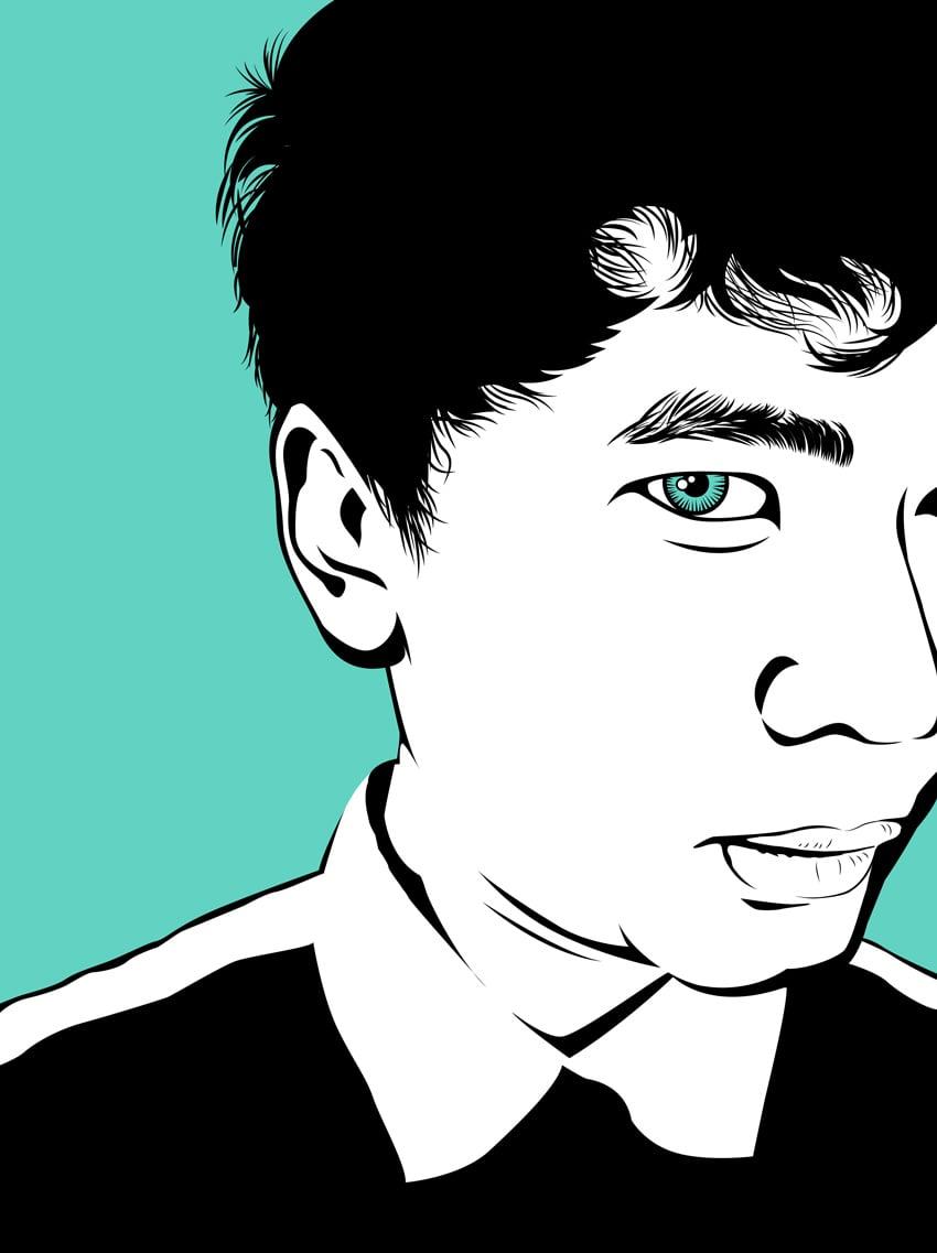 Chunky Line Art Portrait by ROmy Adistyan