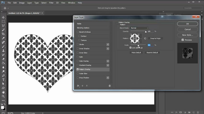 Apply the Pattern with Blending Options