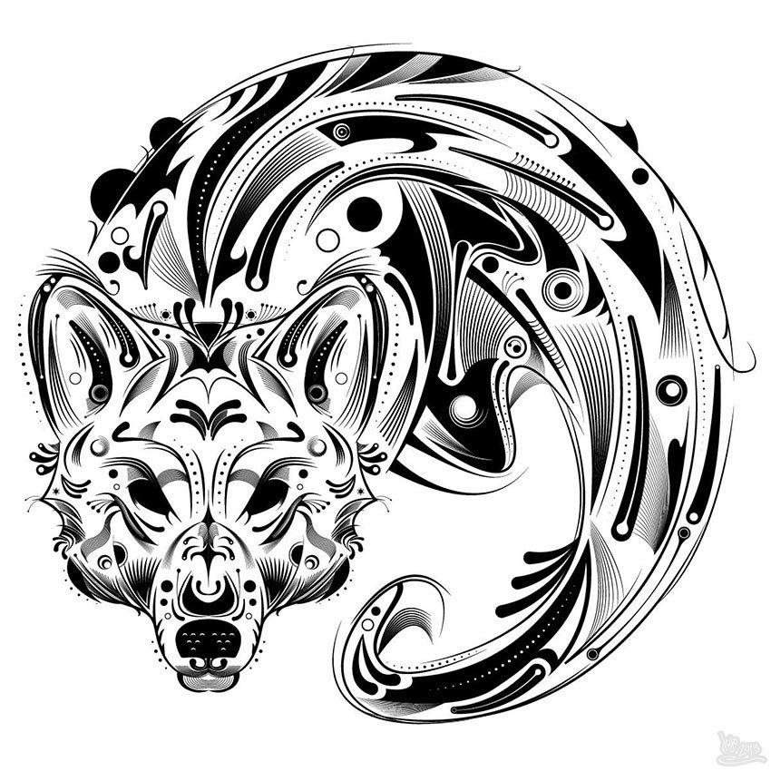 Graphic Wolf Vector Line Art Tutorial
