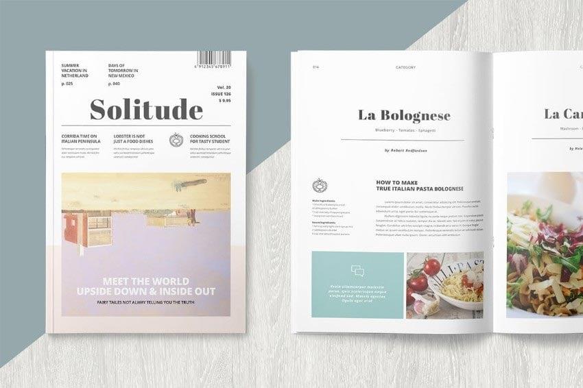 Solitude InDesign Magazine Template