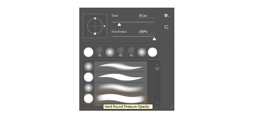 Hard Round Pressure Opacity Brush in Photoshop