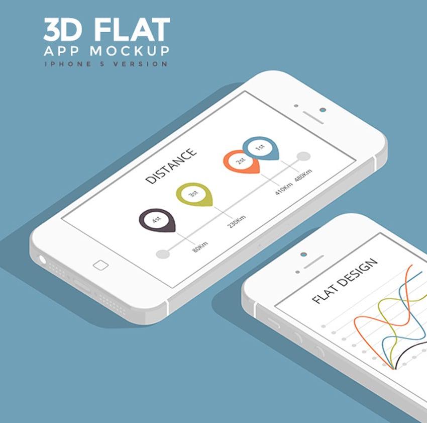 3D Flat App Mockup - Phone