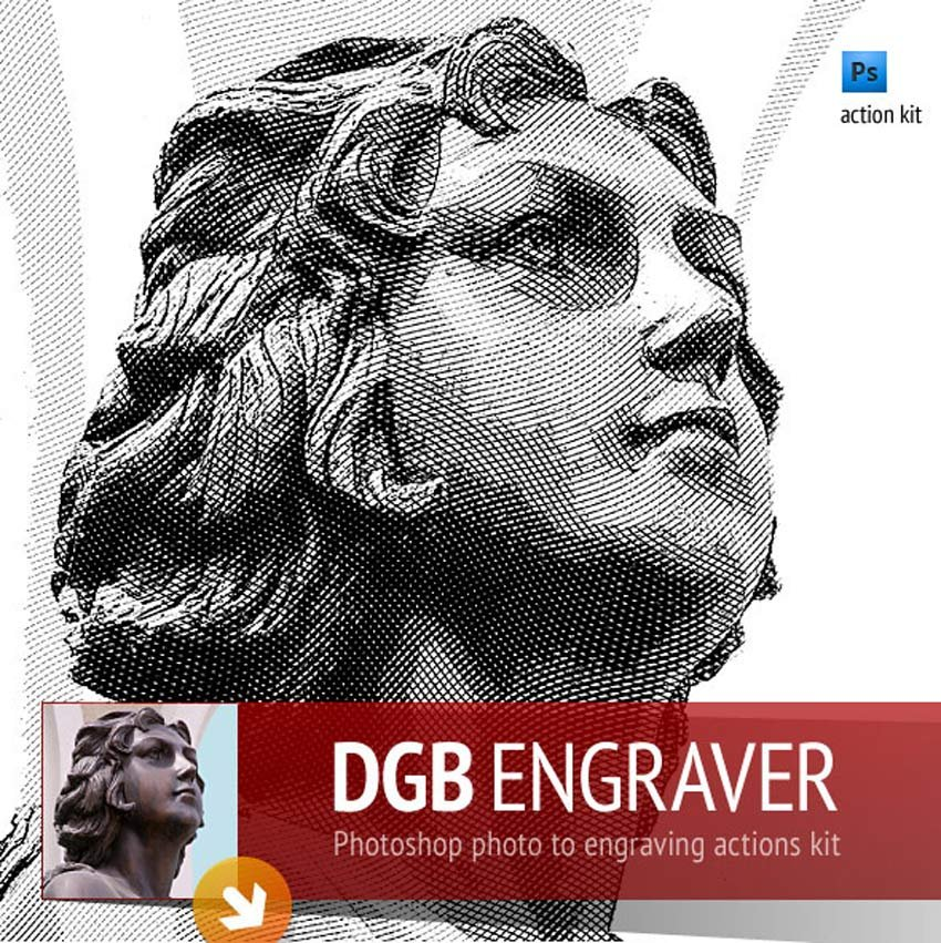 Engrave Photoshop Actions Kit