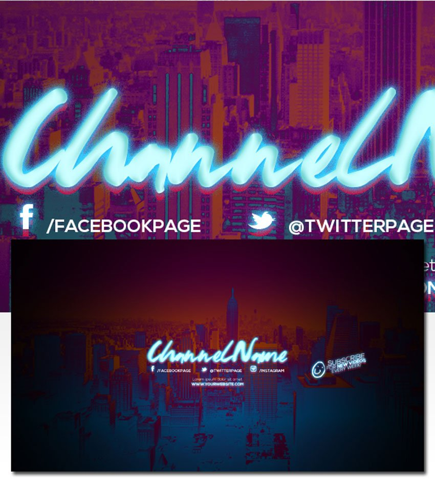 3 Retro YouTube Channel Art Banners