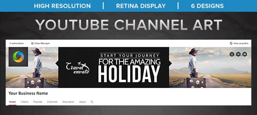 Travel Youtube Channel Art - 6 Designs
