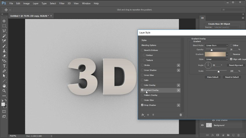 Color the 3D Text with Blending Options