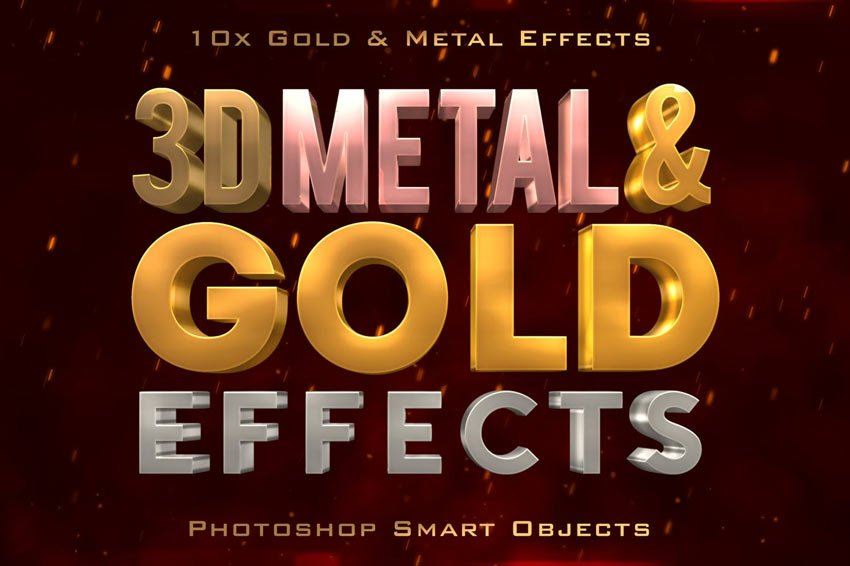 3D Metal Gold Effects