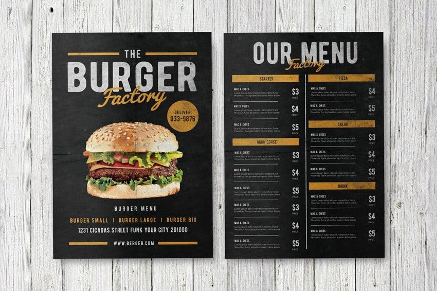 Burger Factory Menu