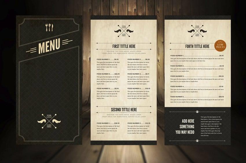 Elegant Food Menu 5 Illustrator Template