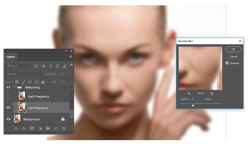 Blur the Portrait with Gaussian Blur - Frequency Separation