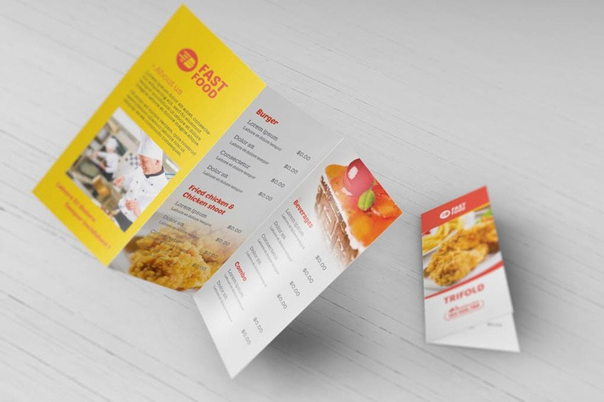 Restaurant Fast Food - Trifold Brochure Template