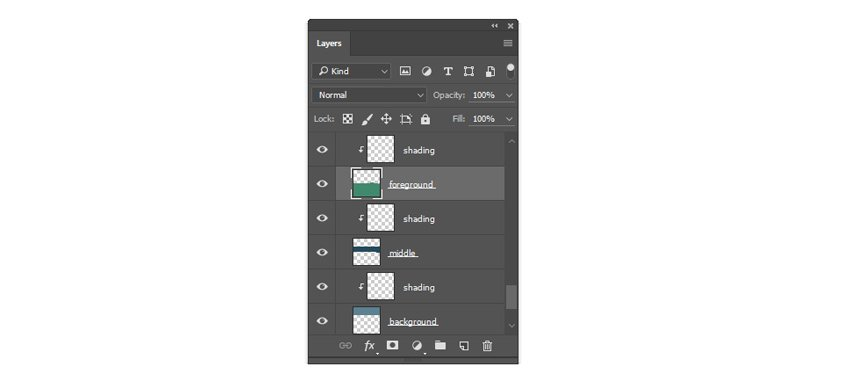 Layer organization with clipping masks