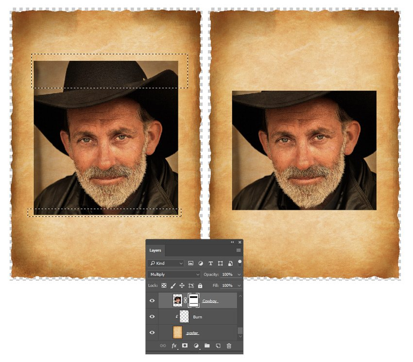Add a layer mask to the cowboy