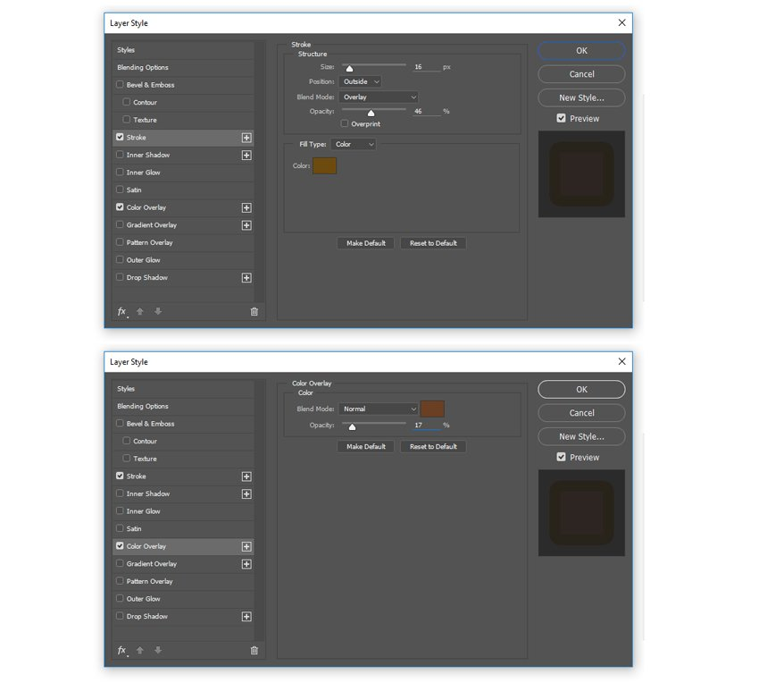 Add a stroke and color overlay layer style