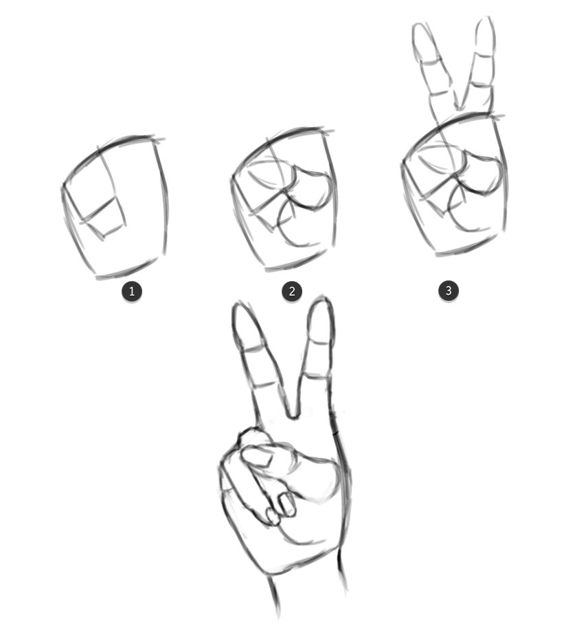 Draw the V Hand from the ASL Alphabet