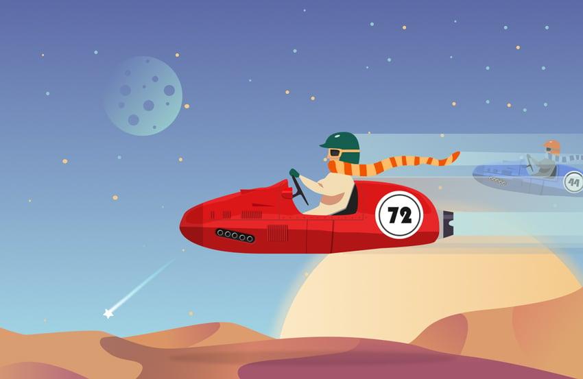 Create a Futuristic Racing Illustration in Sketch