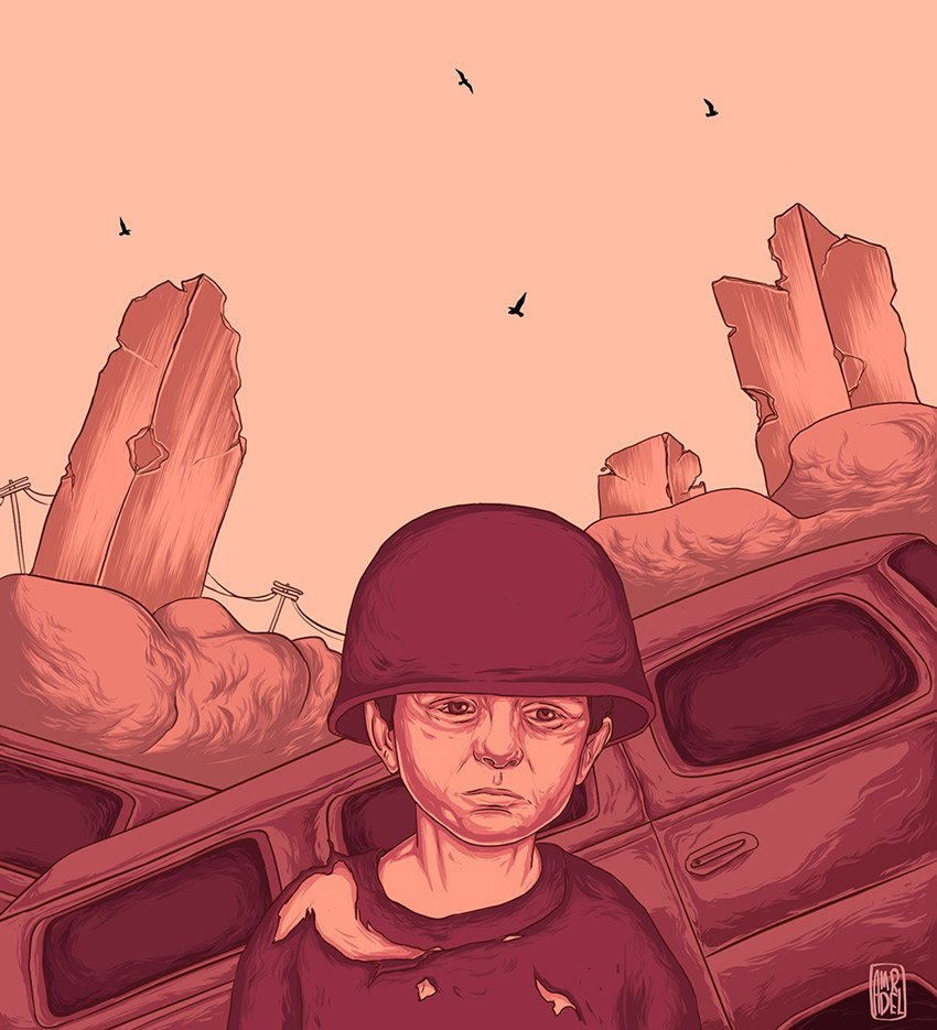 Political Illustrations - War Effects by Amr Adel